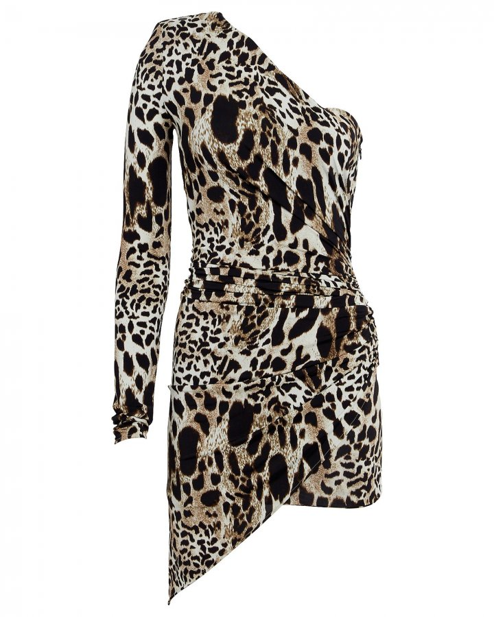 Asymmetrical Leopard-Print Mini Dress