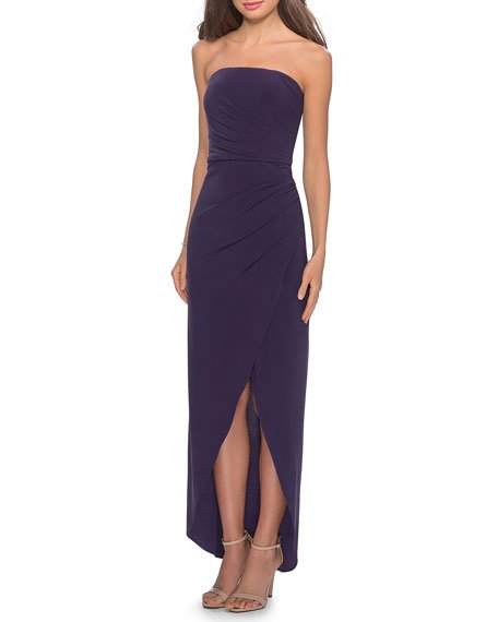 Strapless High-Low Jersey Gown with Faux-Wrap Skirt
