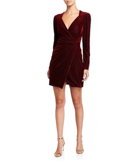 Lanita Velvet Long-Sleeve Cocktail Dress