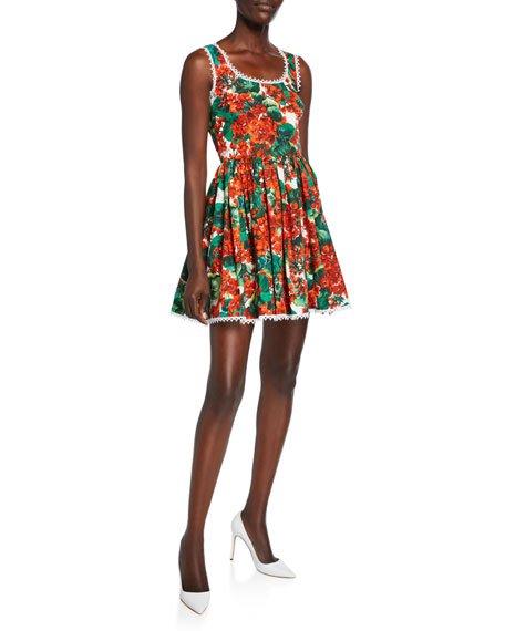 Geranium Sleeveless Cotton Poplin Fit-&-Flare Short Dress