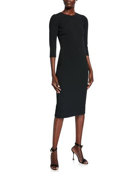 3/4-Sleeve Crepe Dress