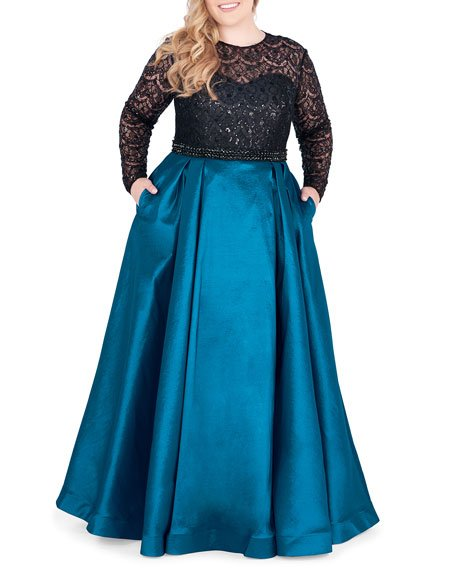 Plus Size Long-Sleeve Satin Ball Gown with Sequin Bodice