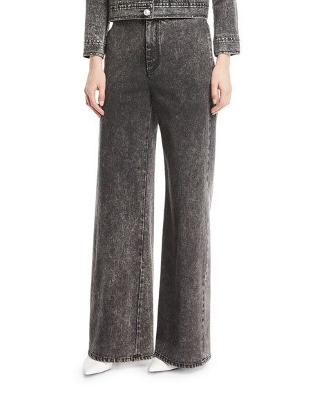 Wide-Leg Denim Twill Pants