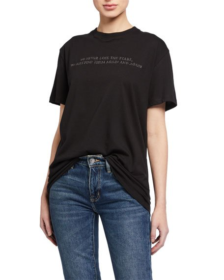 Poem Embroidered Short-Sleeve Jersey T-Shirt