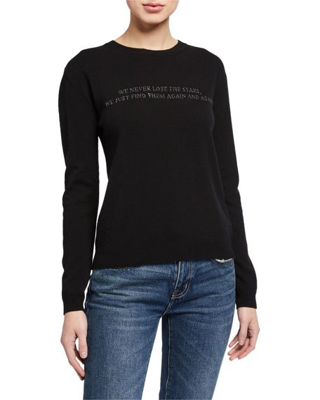 Knit Poem Embroidered Wool-Blend Sweater