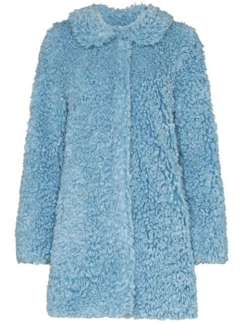 HVN Wide Collar Textured Coat - Farfetch