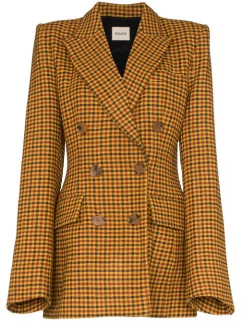 Khaite Darla Checked double-breasted Blazer - Farfetch