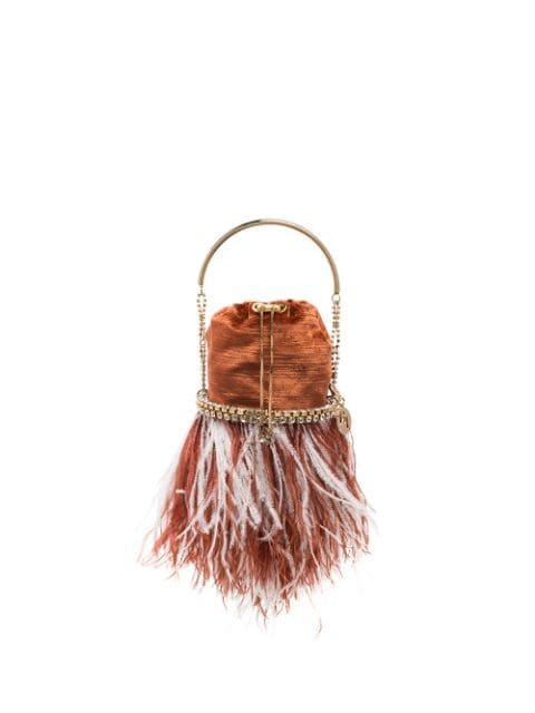 Rosantica Kingham Feather Crystal Velvet Bracelet Bag - Farfetch