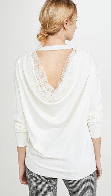 Drape Back Lace Merino Knit