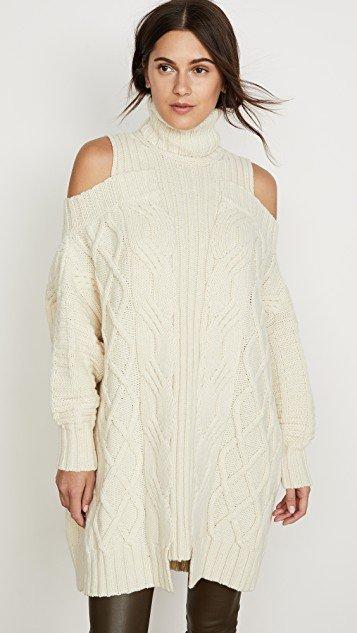 Cold Shoulder Fisherman Sweater
