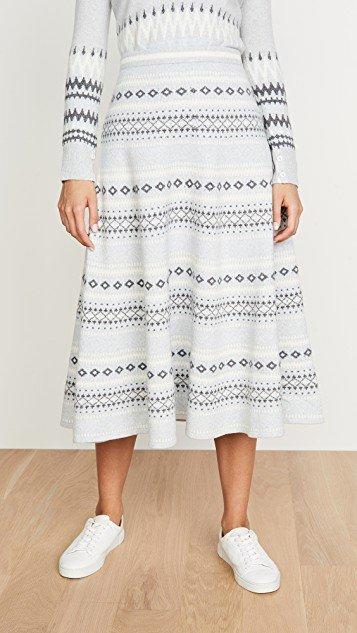 Fair Isle Knit Midi Skirt