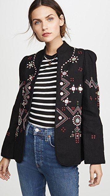 Anja Black Jacket Folk Embroidery