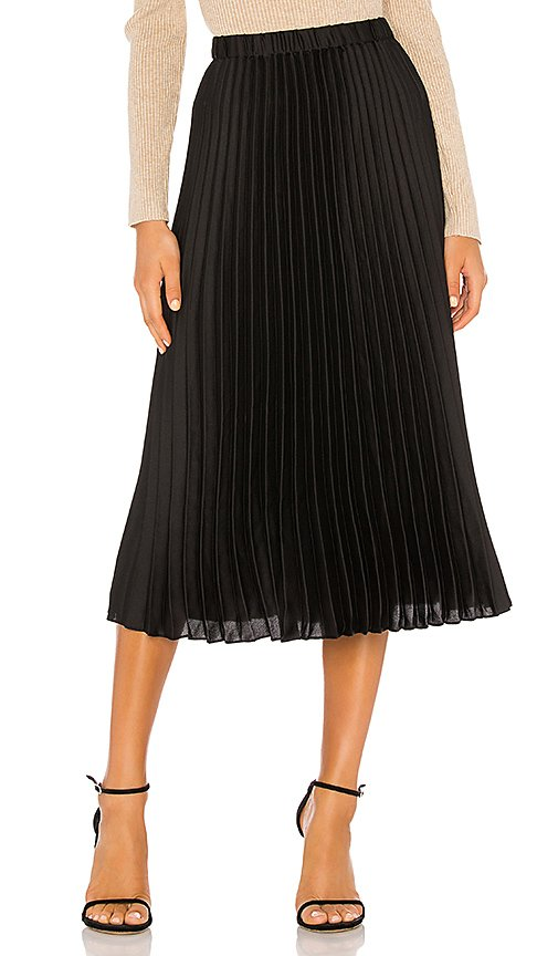 Charmeuse Pleated Midi Skirt