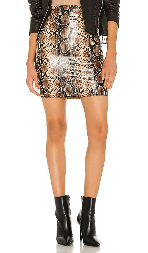 Faux Leather Animal Mini Skirt