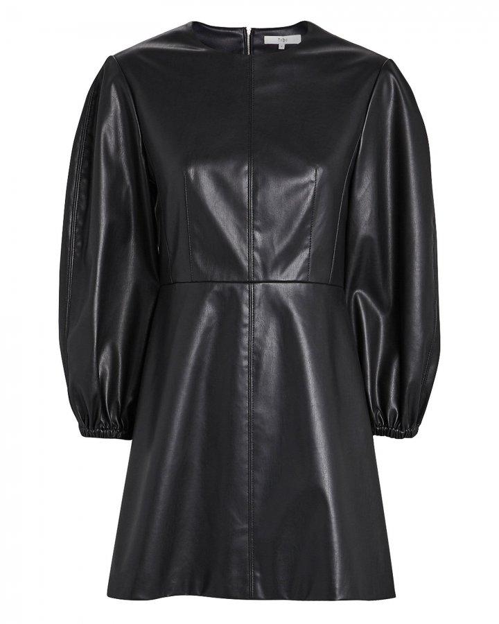 Faux Leather Puff Sleeve Mini Dress