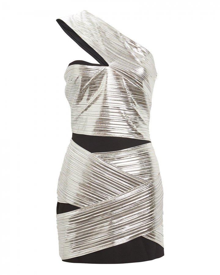 One-Shoulder Lamé Mini Dress
