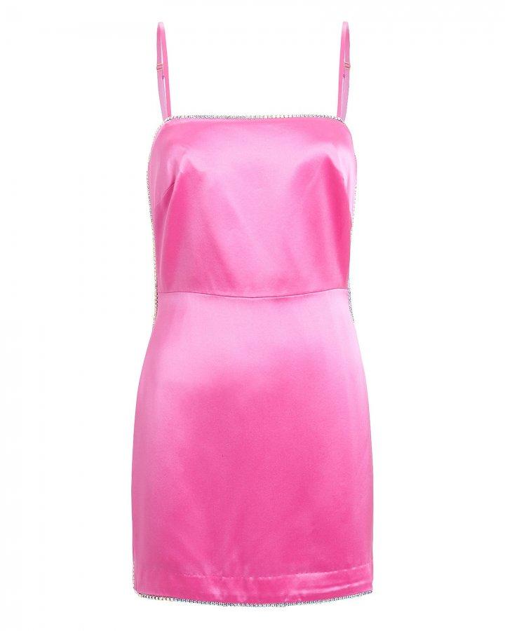 Crystal-Embellished Satin Mini Dress