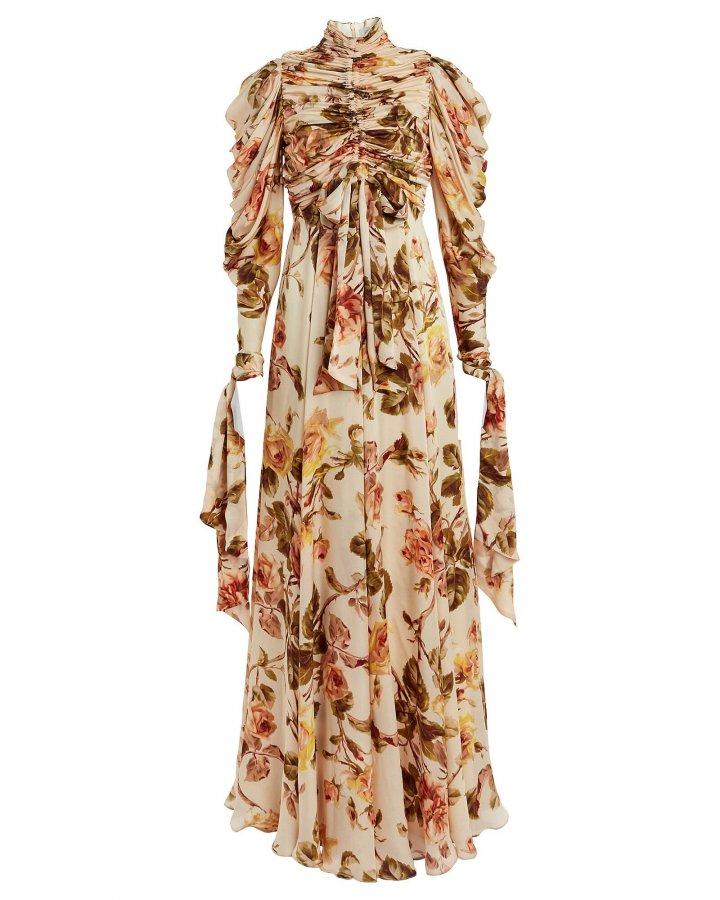 Resistance Ruched Silk Floral Dress