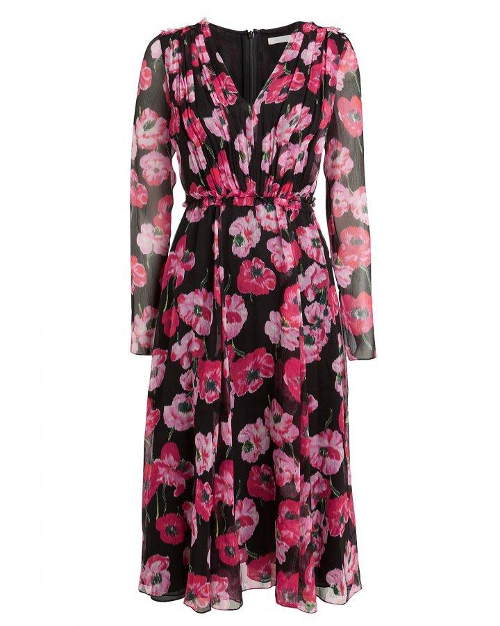 Poppy Floral Crinkle Chiffon Dress