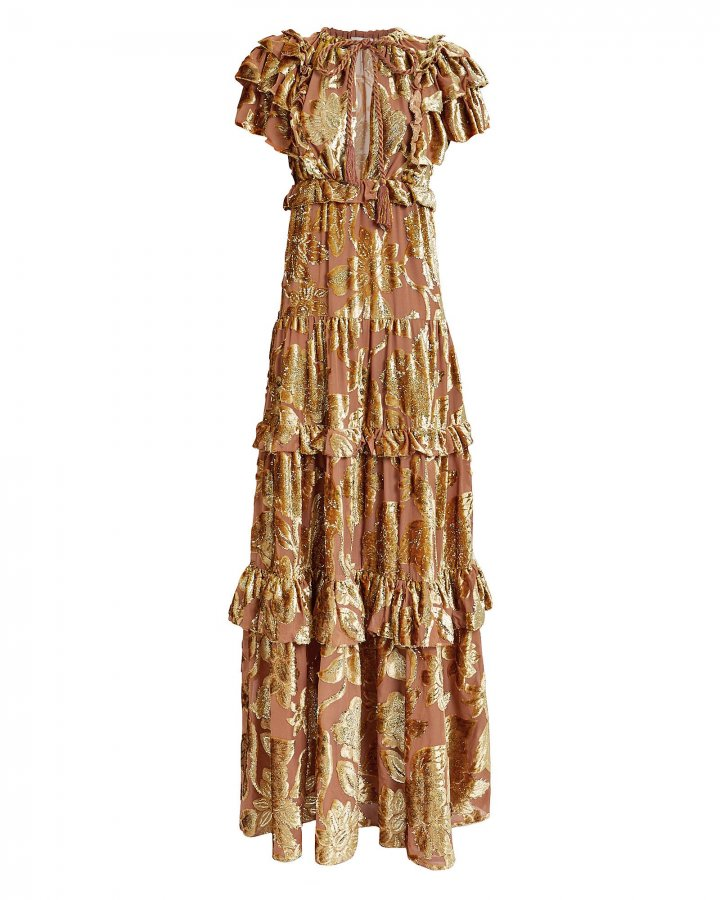 Antonia Ruffled Devoré Gown