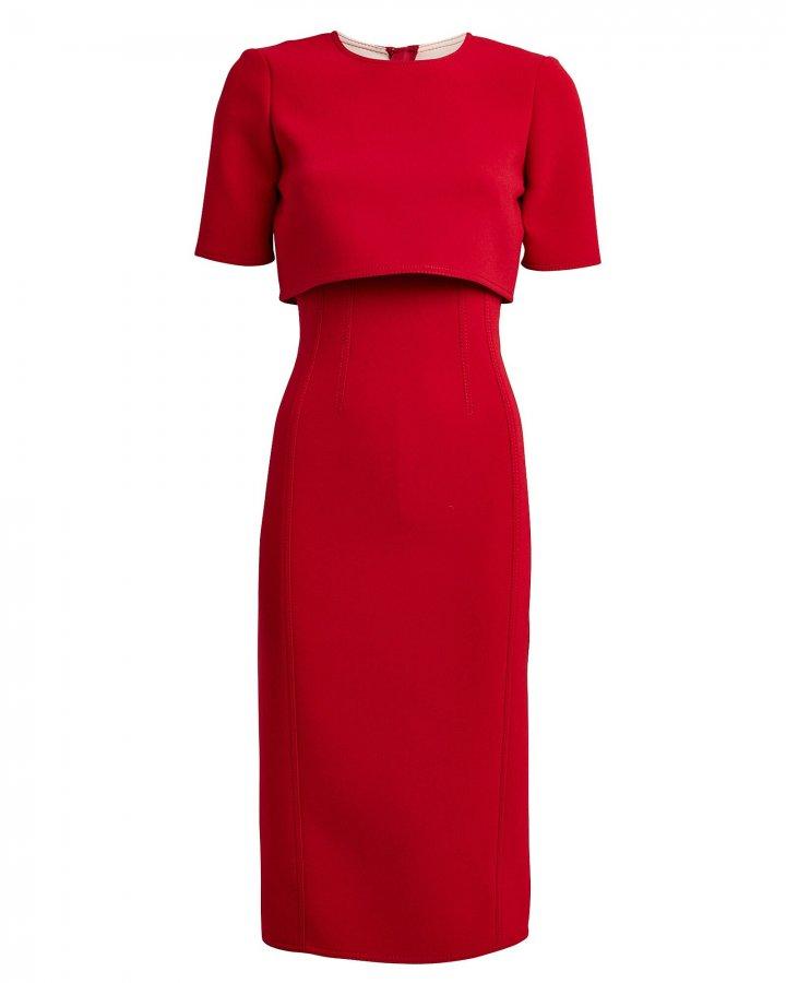 Crepe Overlay Sheath Dress