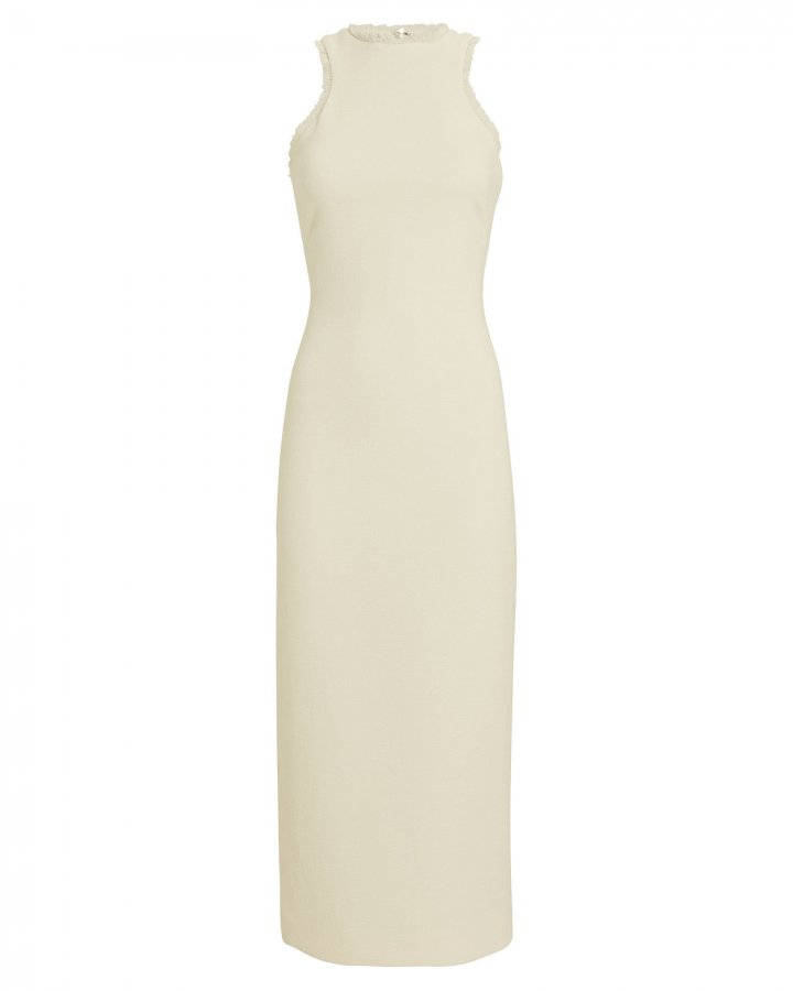 Wool Crepe Fringe-Trimmed Dress