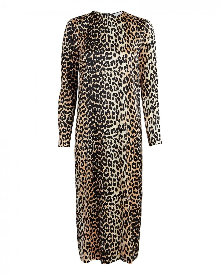 Leopard Silk Shift Dress