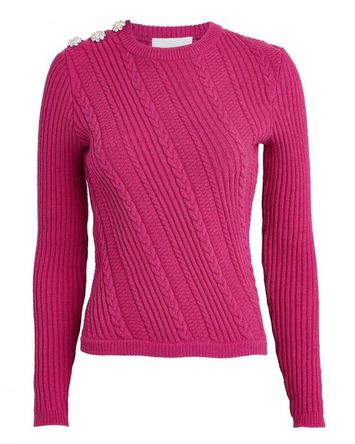 Embellished Cable Crewneck Sweater