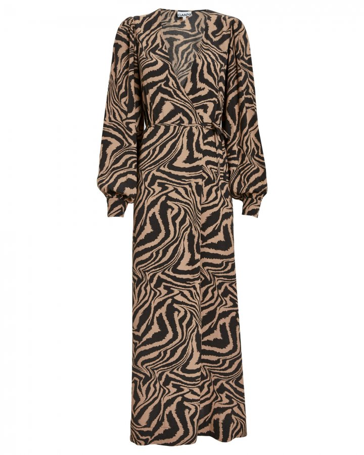 Zebra Crepe Wrap Dress