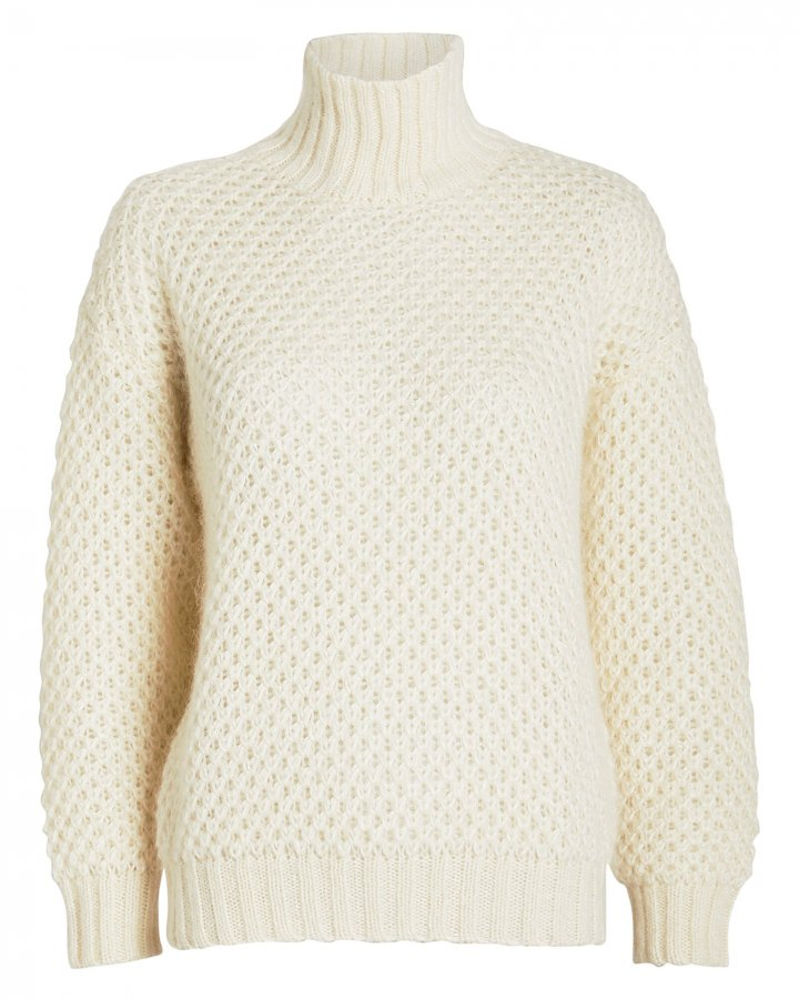 Waffle Knit Mohair Turtleneck Sweater