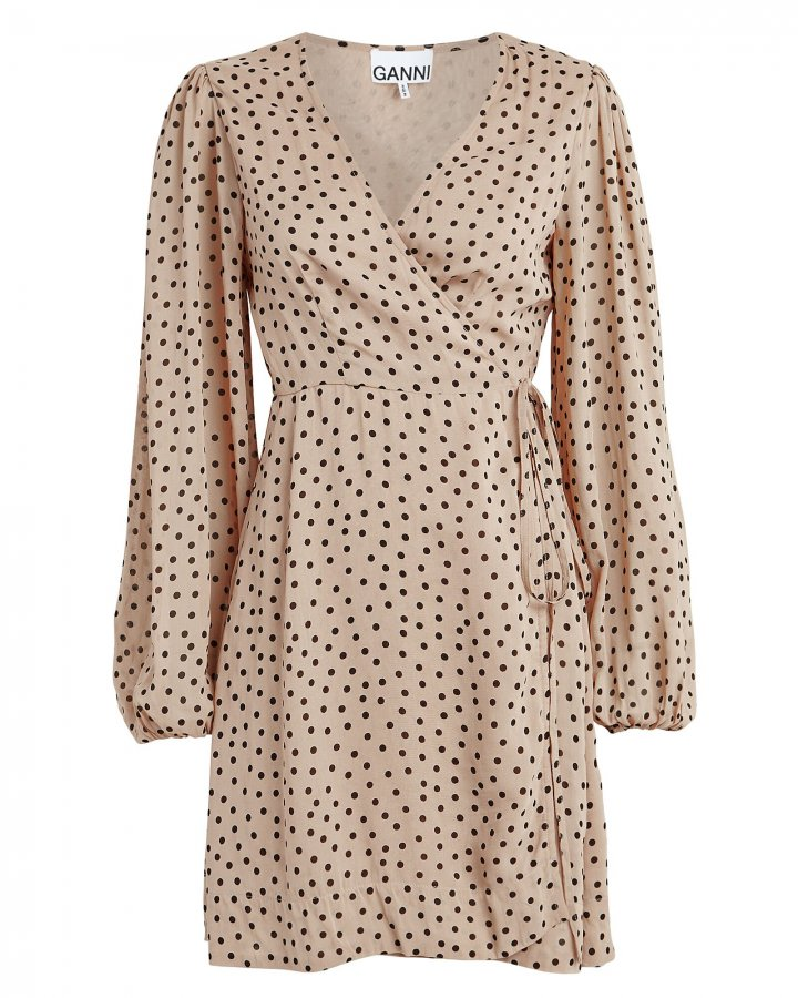 Polka Dot Georgette Wrap Dress