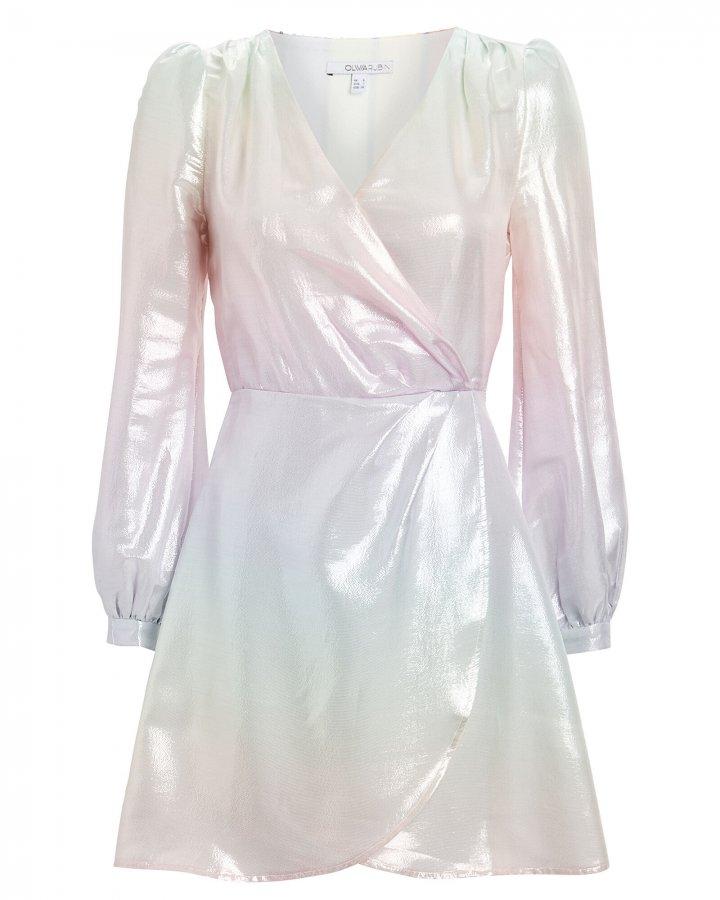 Meg Metallic Silk Pastel Mini Dress
