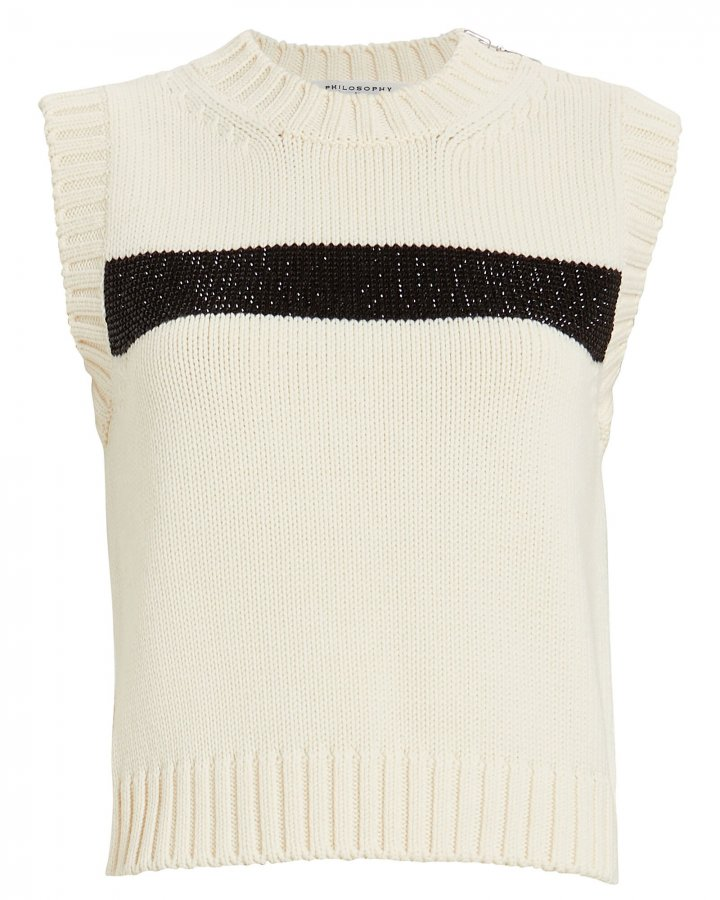 Embellished Virgin Wool Sweater Vest