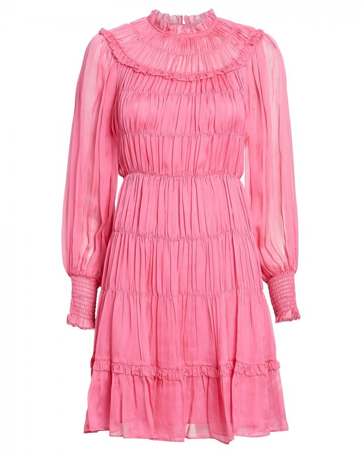 Emmaline Silk Habotai Pleated Dress