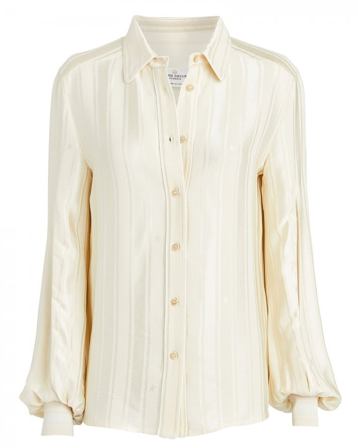 Isako Jacquard Crepe Button Front Blouse
