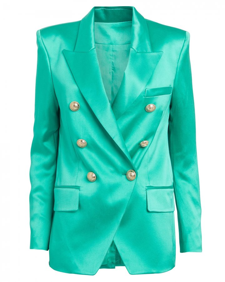 Double-Breasted Satin Blazer
