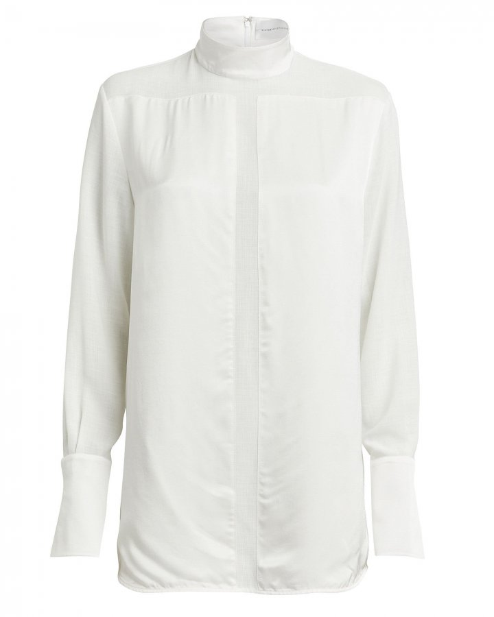 Organza-Trimmed Satin Tunic