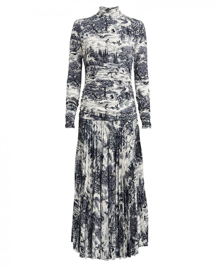 Ruched Forest Print Jersey Dress