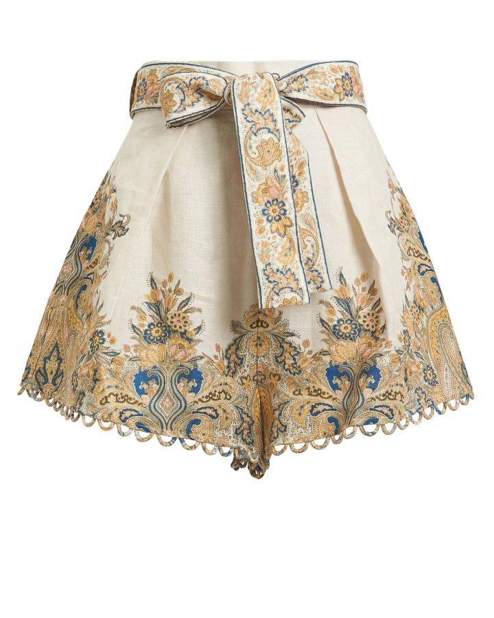 Freja Paisley Linen Shorts