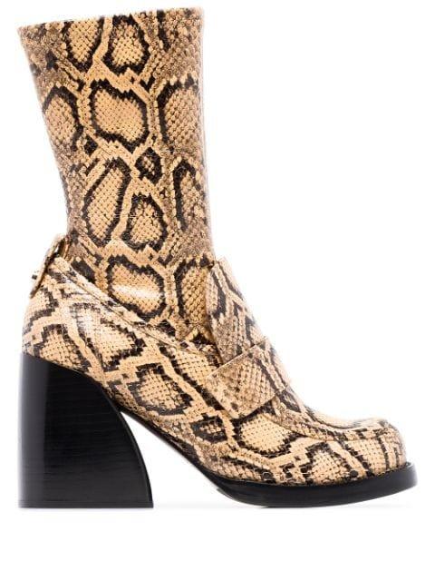 Chloé Adelie 90mm snake-effect Boots - Farfetch