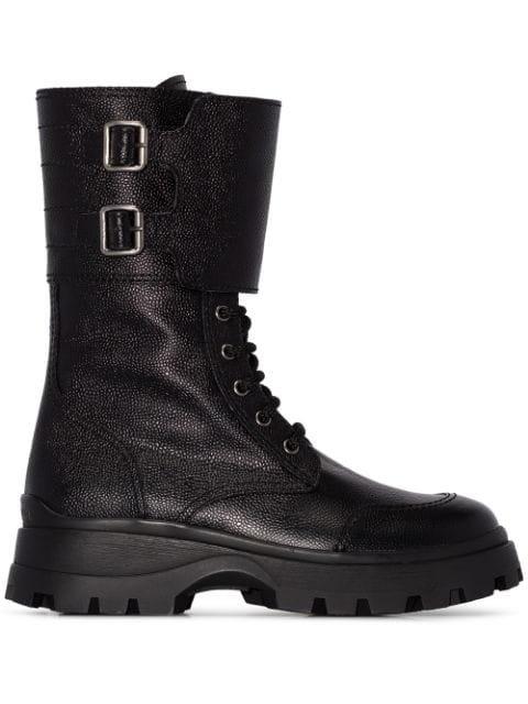 Miu Miu Military Buckle Boots - Farfetch