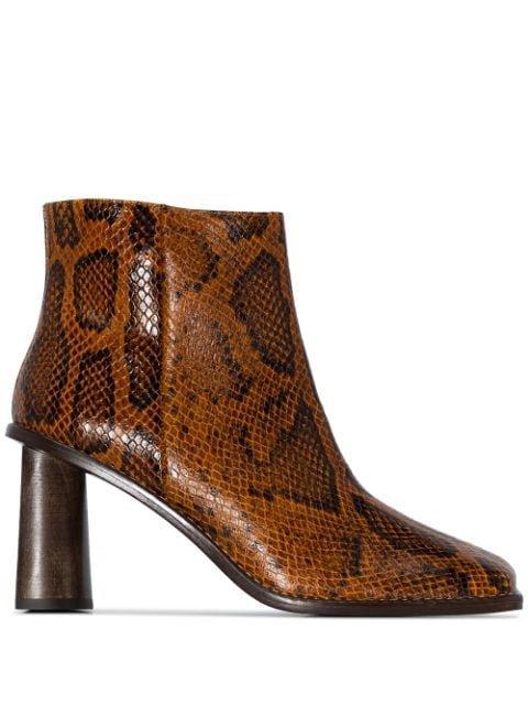 Rejina Pyo Alana 75mm snake-effect Ankle Boots - Farfetch