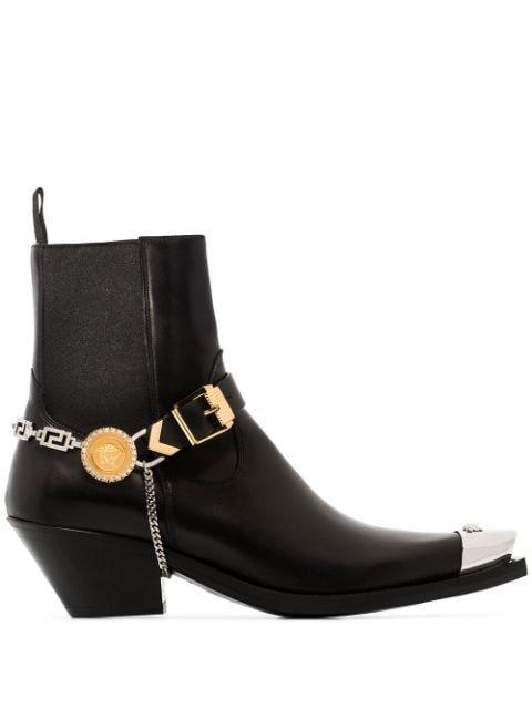 Versace Medusa steel-toe Ankle Boots - Farfetch