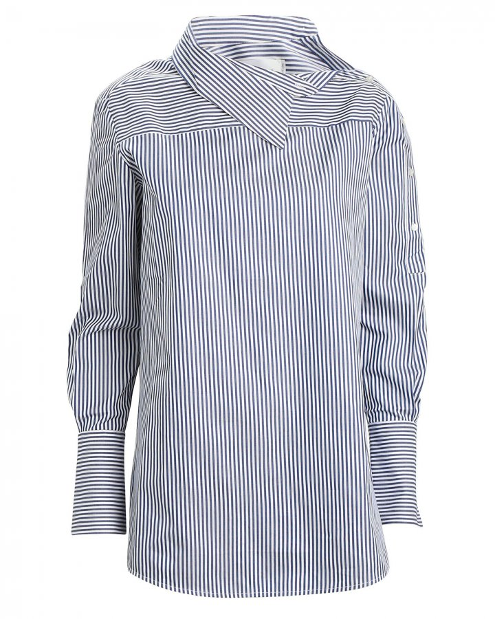 One-Shoulder Striped Button Down