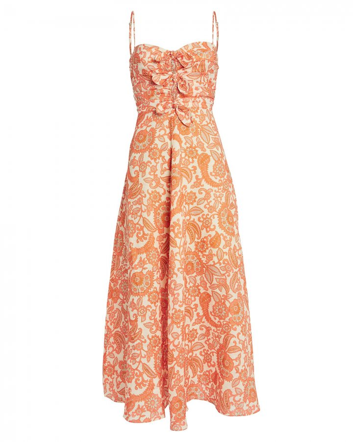 Peggy Paisley Linen Midi Dress