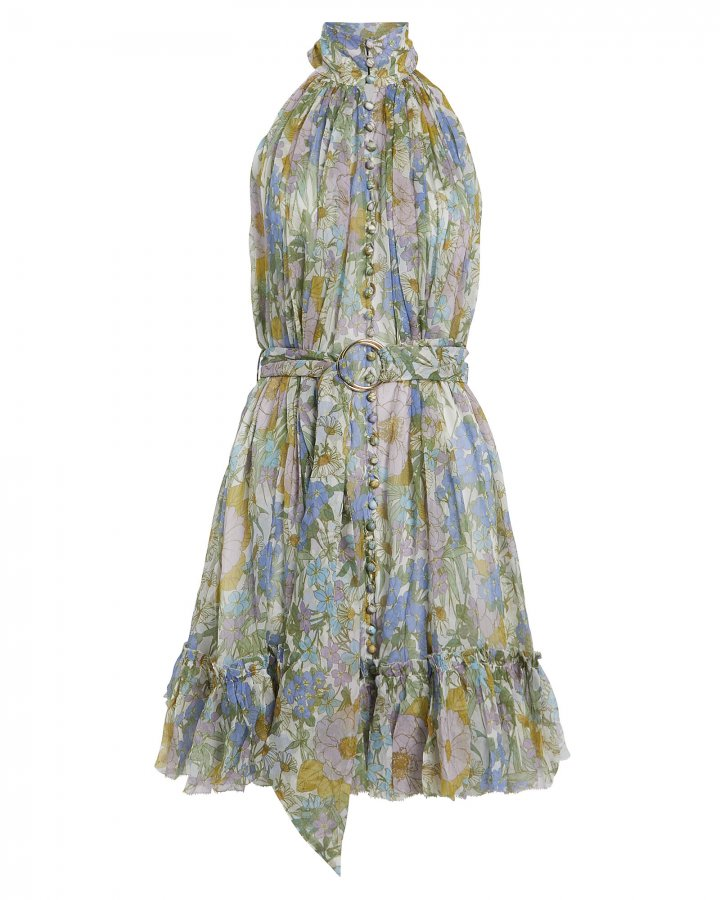 Floral Silk Chiffon Mini Dress