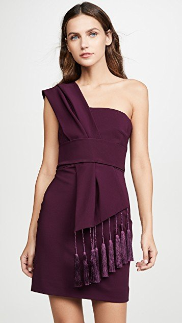 Fitted Mini Dress with Scarf Detail Across Bodice