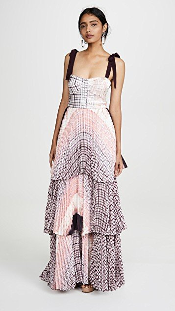 Tiered Dress With Tie Straps