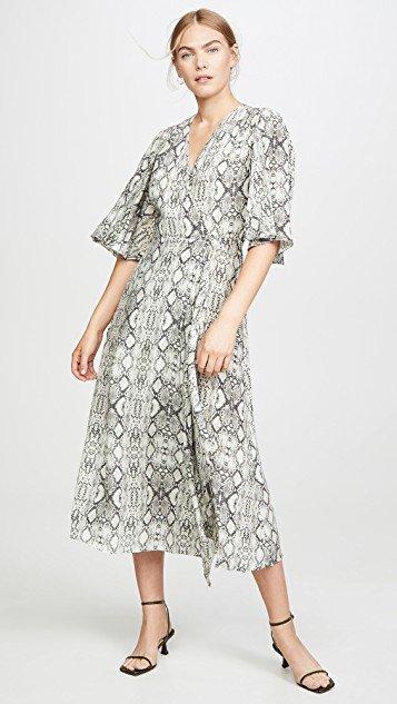 Flutter Sleeve Long Wrap Dress