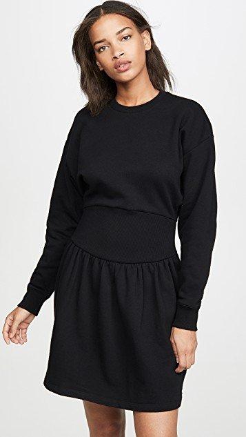 Long Sleeve Fleece Mini Rib Dress